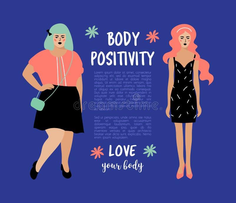 Kropprealitetkort Plus formatkvinna och mager flicka på mörkt - blå bakgrund, ställe för text Bodypositive affisch vektor vektor illustrationer