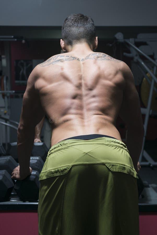 Kroppsbyggare från baksida royaltyfri foto