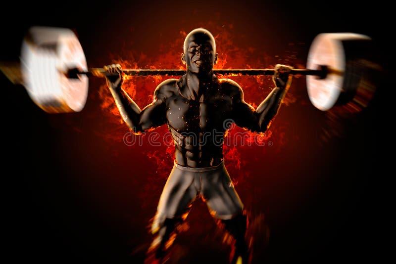 Kroppsbyggare med den flammande skivstången framförande 3d stock illustrationer