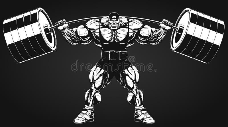 Kroppsbyggare med en skivstång vektor illustrationer