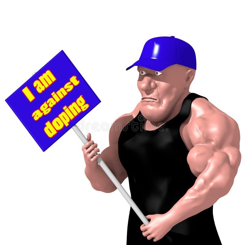 Kroppsbyggare som rymmer en affisch karikatyr stock illustrationer