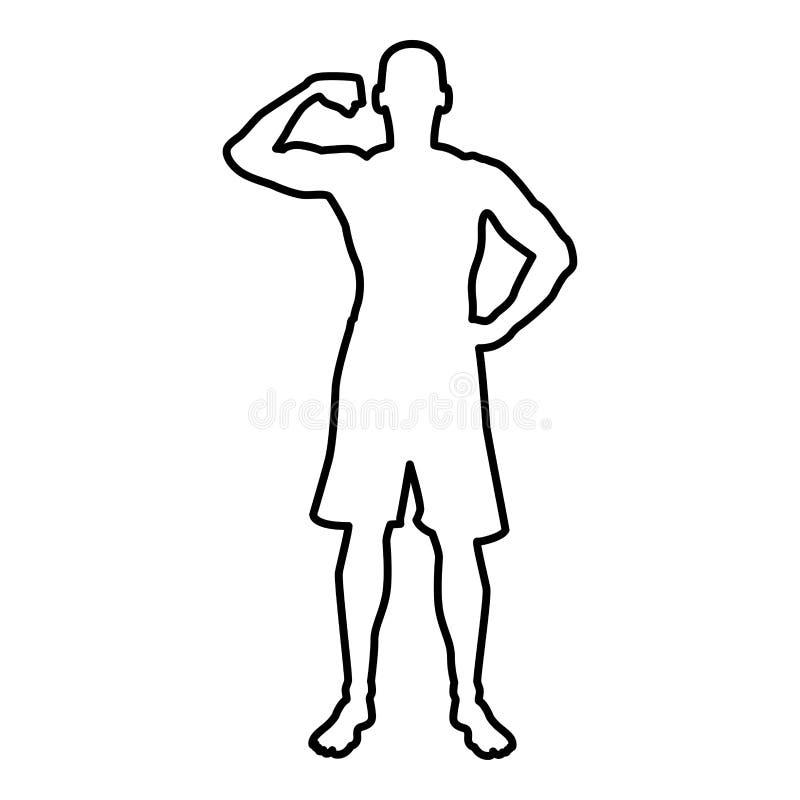 Kroppsbyggare som visar kontur för begrepp för sport för bicepsmuskelbodybuilding symbolen för främre sikt svart översikt för fär royaltyfri illustrationer