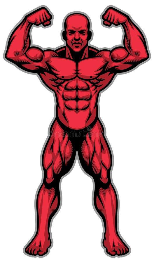 Kroppsbyggareidrottsman nen som visar hans muskelkropp stock illustrationer