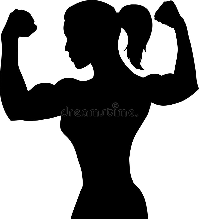 kroppsbyggarekvinnligöversikt stock illustrationer