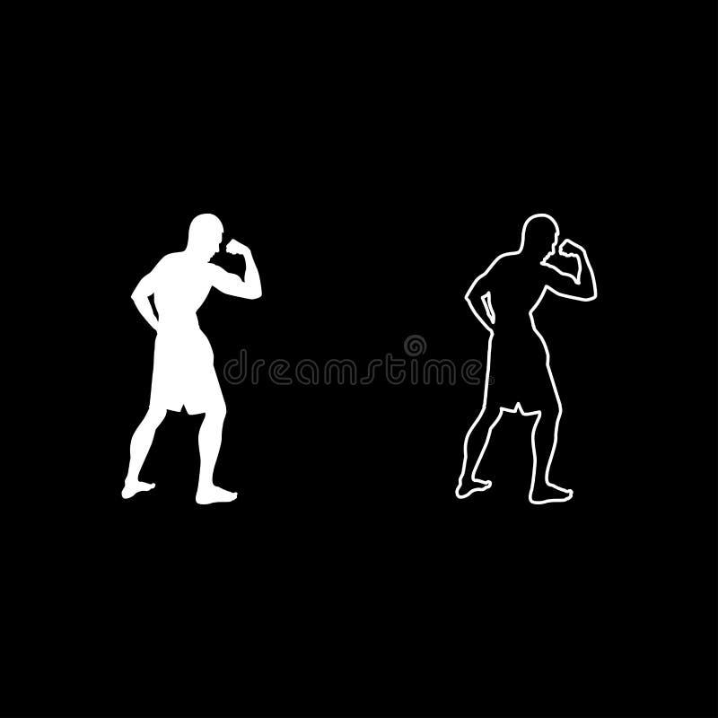 Kroppsbyggaren som visar symbolen för sikten för sidan för konturn för begreppet för sporten för bicepsmuskelbodybuilding, ställd royaltyfri illustrationer