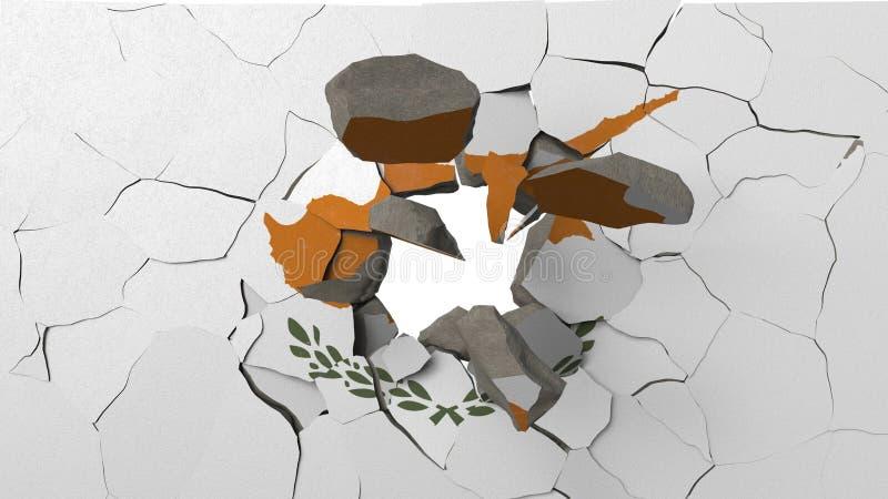 Krossa betongväggen med flaggan av Cypern Begreppsmässig tolkning 3D för cypriotisk kris stock illustrationer