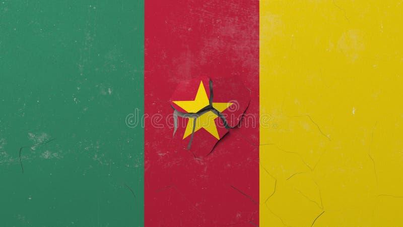 Krossa betongväggen med flaggan av Kamerun Begreppsmässig tolkning 3D för kamerunsk kris stock illustrationer