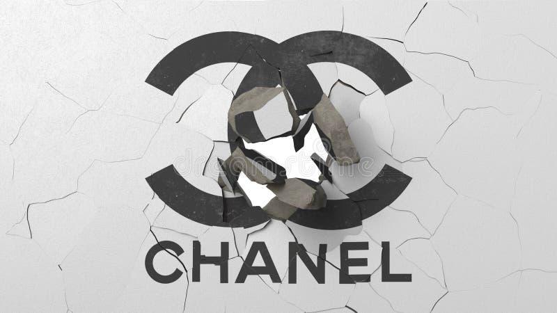Krossa betongväggen med logo av Chanel Begreppsmässig redaktörs- tolkning 3D för kris vektor illustrationer