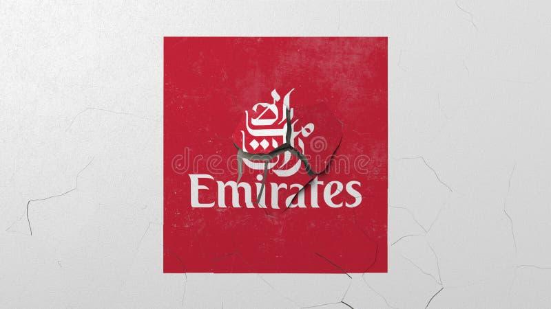 Krossa betongväggen med logo av Emirates Airlines Krisen gällde den redaktörs- tolkningen 3D stock illustrationer