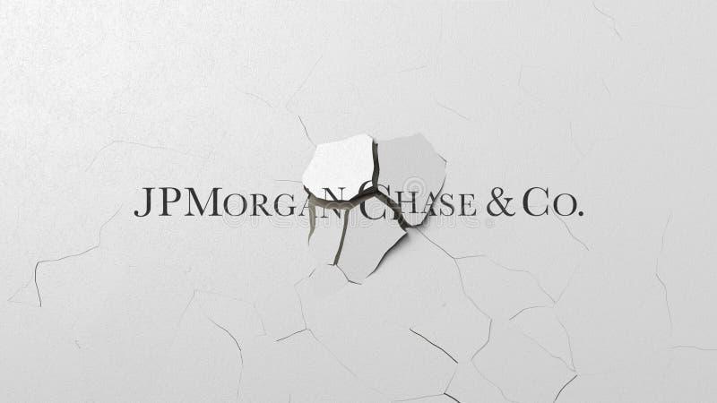 Krossa betongväggen med logo av JPMorgan jakt Krisen gällde den redaktörs- tolkningen 3D vektor illustrationer