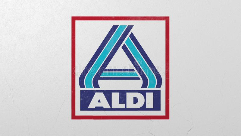 Krossa betongv?ggen med logo av Aldi Krisen gällde den redaktörs- tolkningen 3D royaltyfri illustrationer