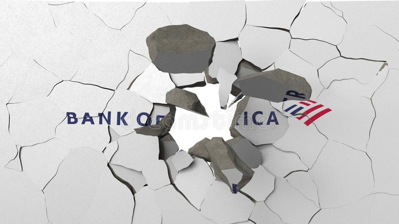 Krossa betongv?ggen med logo av Bank of America Krisen gällde den redaktörs- tolkningen 3D vektor illustrationer