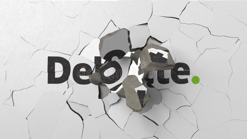 Krossa betongv?ggen med logo av Deloitte Krisen gällde den redaktörs- tolkningen 3D vektor illustrationer