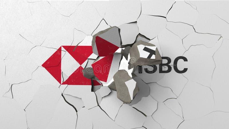 Krossa betongv?ggen med logo av HSBC Krisen gällde den redaktörs- tolkningen 3D royaltyfri illustrationer