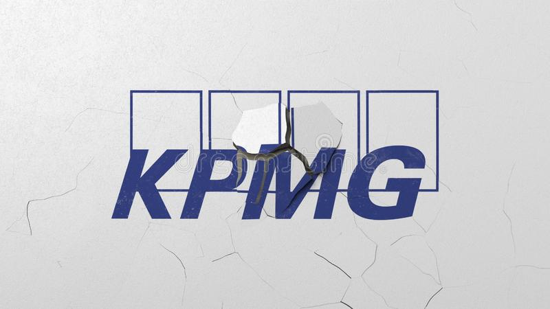 Krossa betongv?ggen med logo av KPMG Krisen gällde den redaktörs- tolkningen 3D stock illustrationer