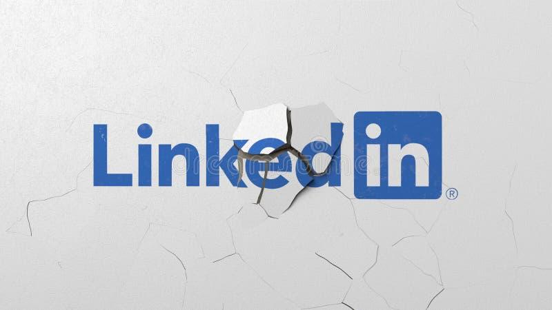 Krossa betongv?ggen med logo av LinkedIn Krisen gällde den redaktörs- tolkningen 3D stock illustrationer