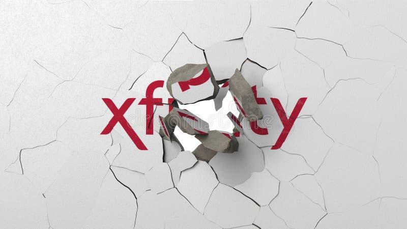 Krossa betongv?ggen med logo av Xfinity Krisen gällde den redaktörs- tolkningen 3D vektor illustrationer