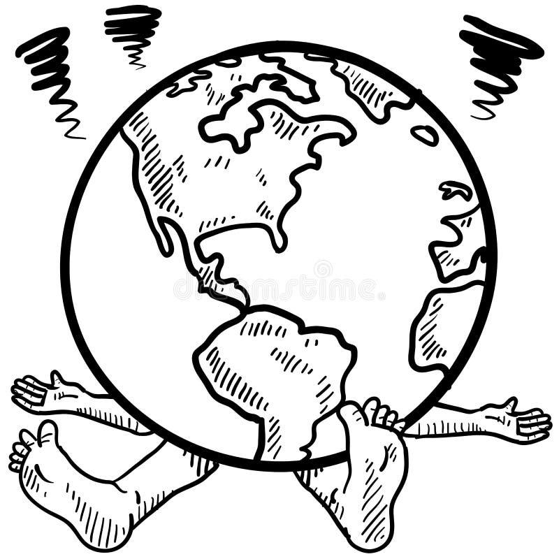 Krossat av vikten av världen vektor illustrationer