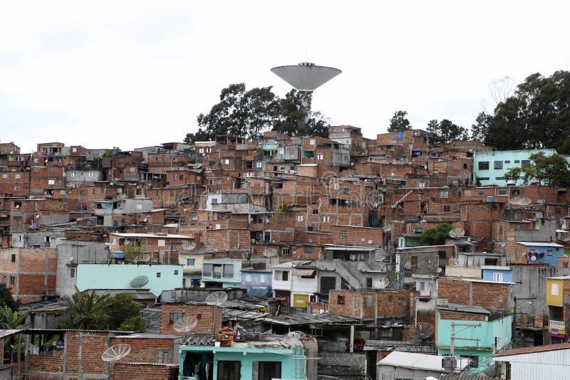 Krottenwijk, buurt van Sao Paulo, Brazilië stock afbeeldingen