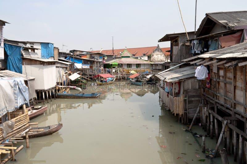 Krottenwijk in Djakarta royalty-vrije stock afbeeldingen