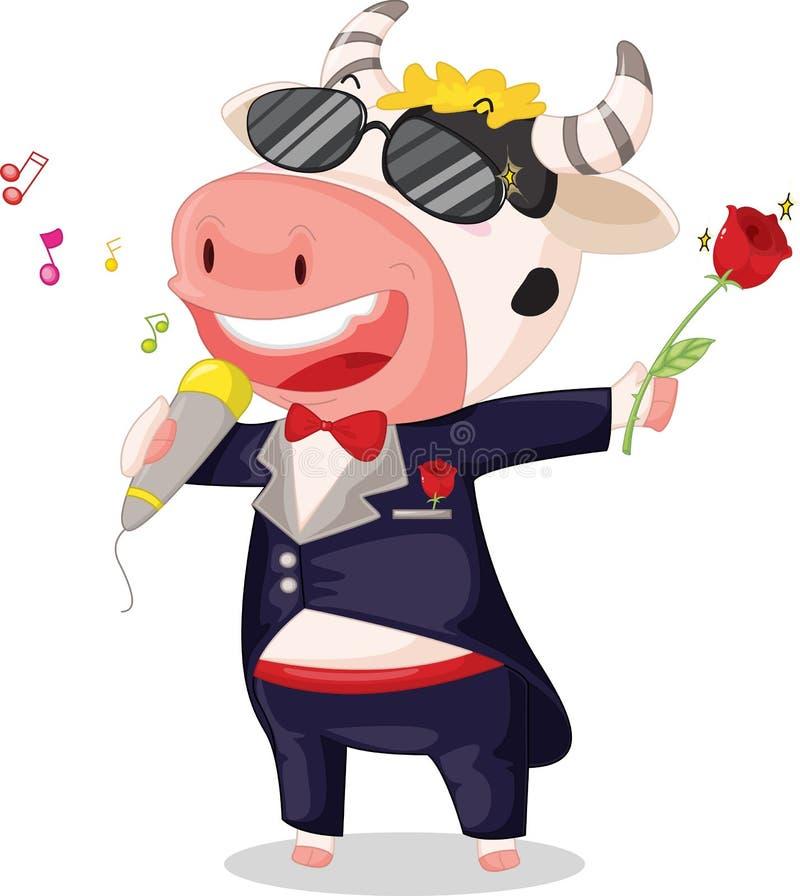 krowa śpiew royalty ilustracja