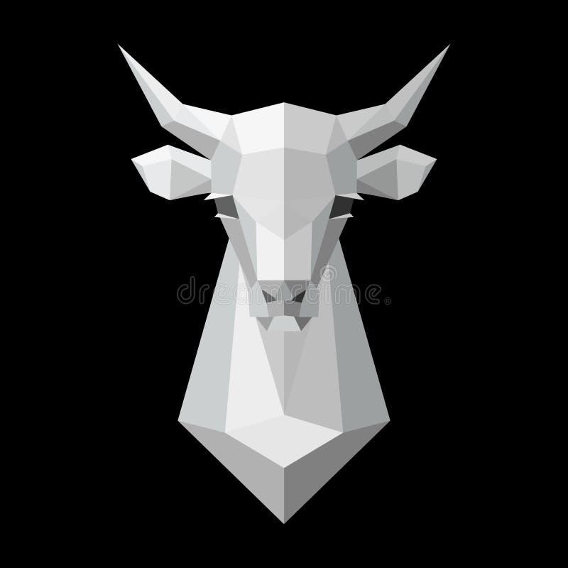 Krowa bielu Kierowniczy Poligonalny model również zwrócić corel ilustracji wektora ilustracji