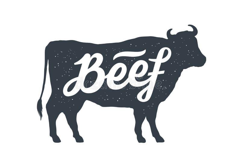 Krowa, byk, wołowina Rocznika literowanie, retro druk, plakat ilustracja wektor