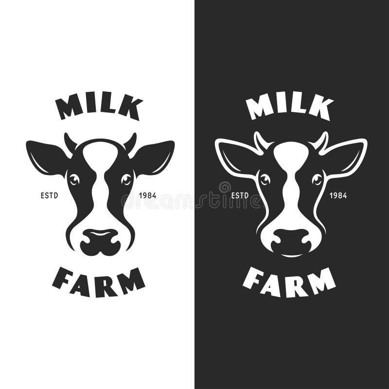 Krowa emblemata logotypu kierownicza etykietka Wektorowa rocznik ilustracja ilustracji