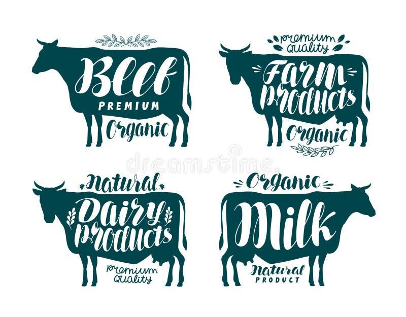 Krowa, etykietka set Mleko, wołowina, nabiały, mięso, rolna ikona lub logo, Literowanie, kaligrafia wektoru ilustracja ilustracji