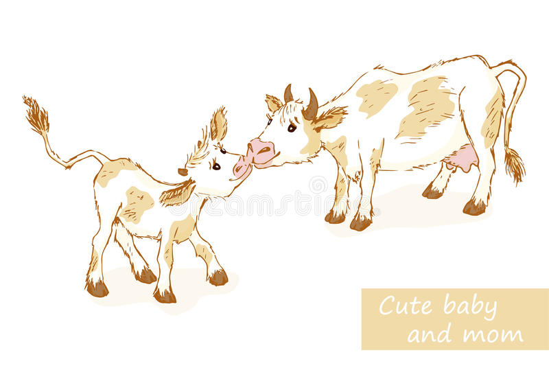 Krowa i łydka royalty ilustracja