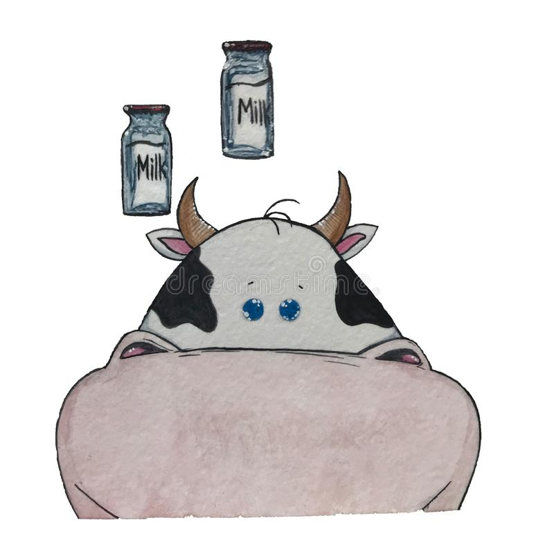 Krowa i dojna butelka obraz royalty free