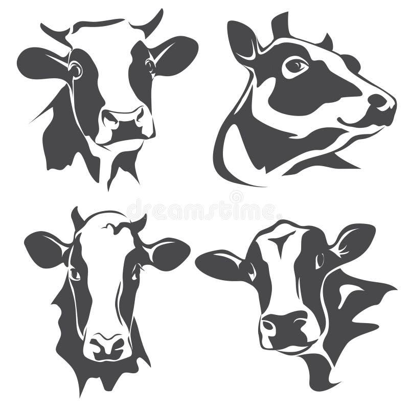 Krowa kierowniczy portret royalty ilustracja