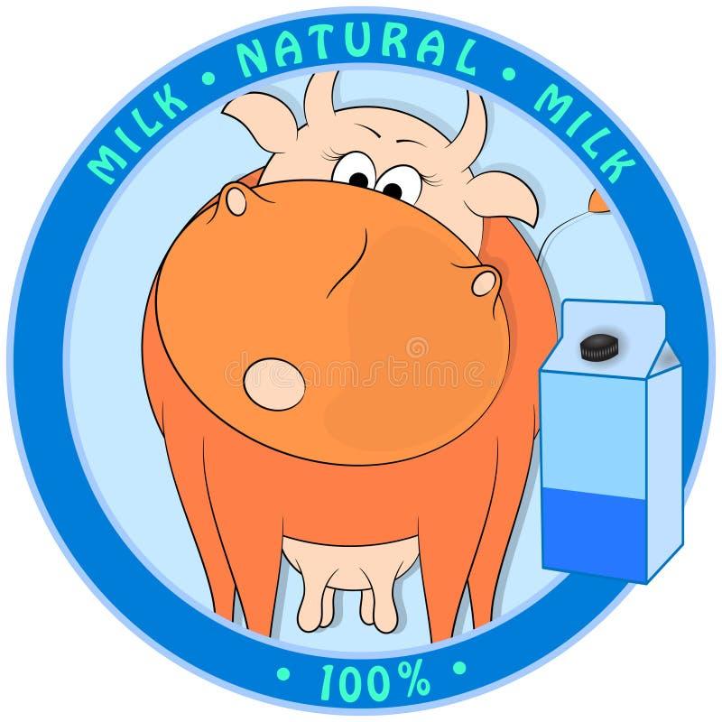 Krowa kreskówka i opakowanie mleka na niebieskim tle. r?wnie? zwr?ci? corel ilustracji wektora royalty ilustracja