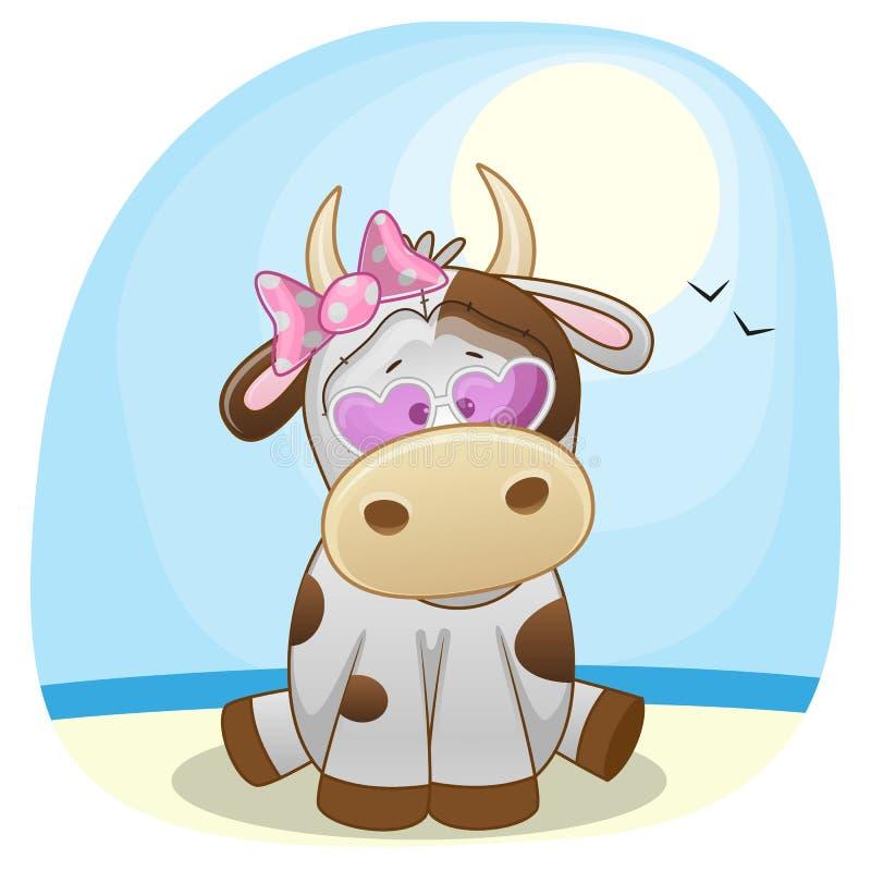 Krowa na plaży ilustracja wektor