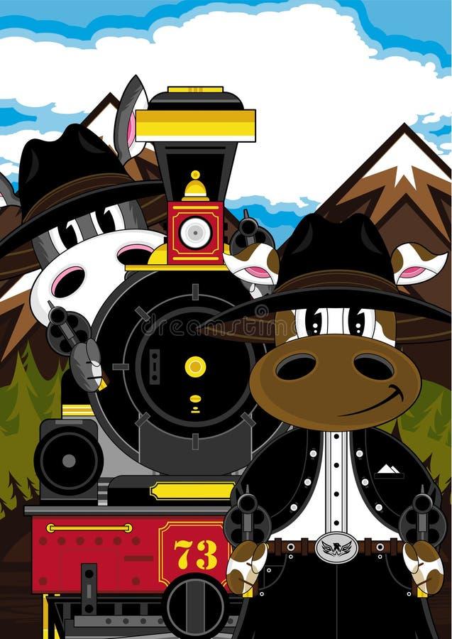 Krowa, osła pociąg & kowboje i ilustracji