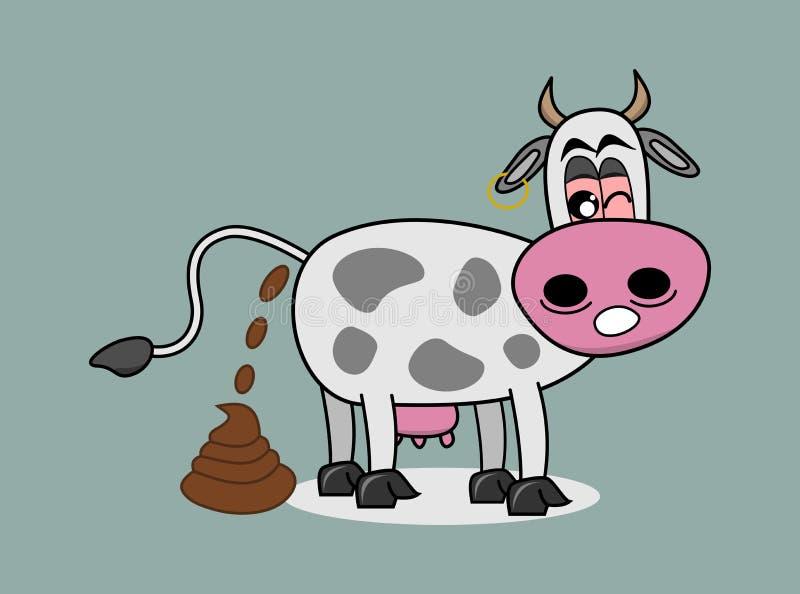 Krowa robi dużemu gównu ilustracji