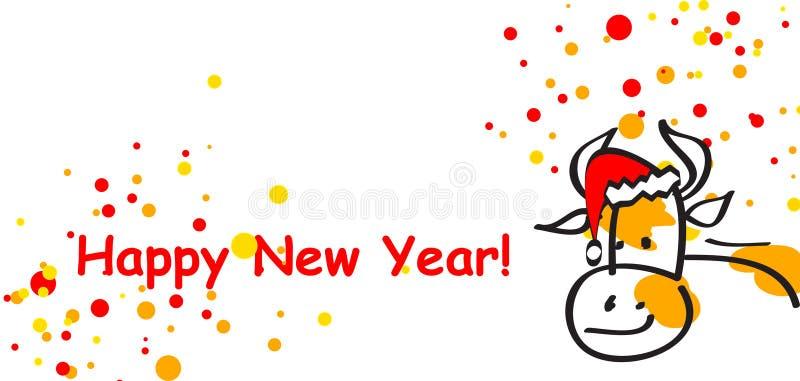 krowa rok nowy pocztówkowy ilustracji