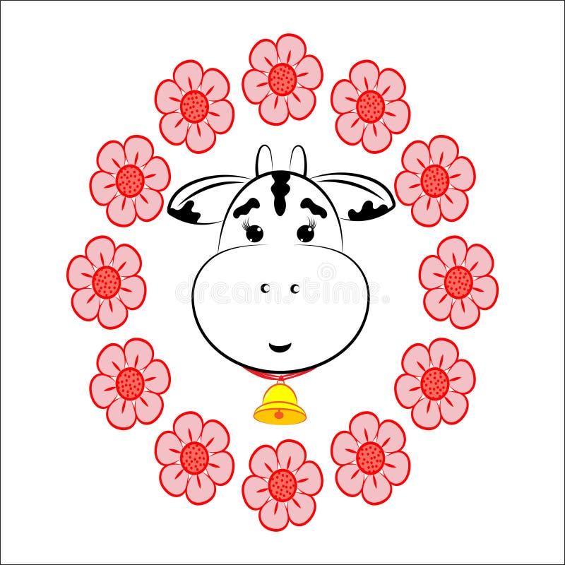 Krowa w kwiatu wianku royalty ilustracja