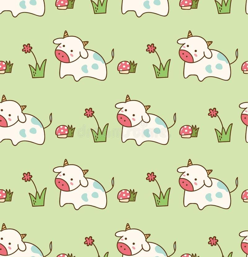 Krowa w trawie z kwiatem i pieczarkowym bezszwowym wzorem ilustracji