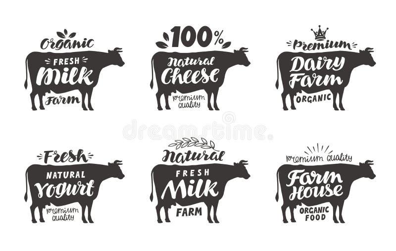 krowa Wektor ustalone karmowe etykietki, odznaki i ikony, ilustracji
