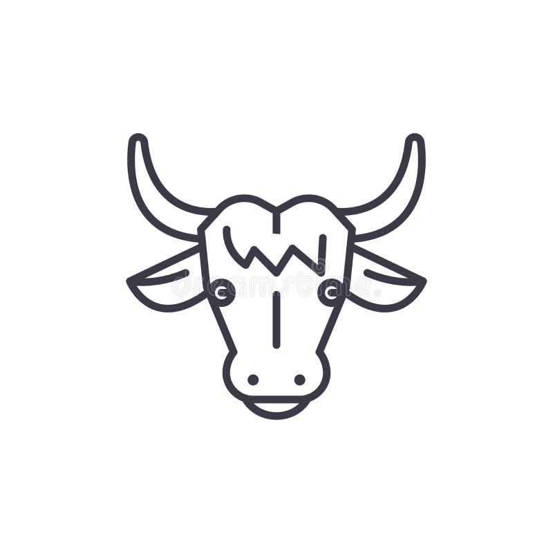 Krowa wektoru linii kierownicza ikona, znak, ilustracja na tle, editable uderzenia ilustracji