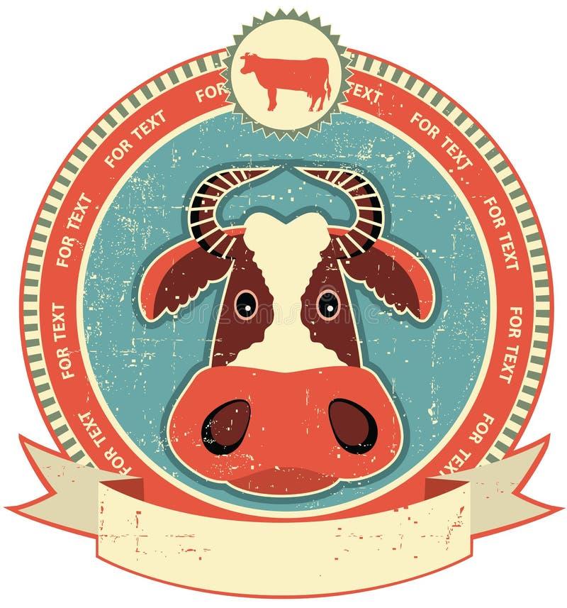 Krowy głowy etykietka na starej papierowej teksturze. ilustracja wektor