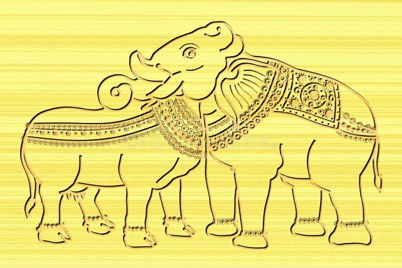 Krowy i słonia złącze przewodzi drewnianą cyzelowanie sztukę royalty ilustracja
