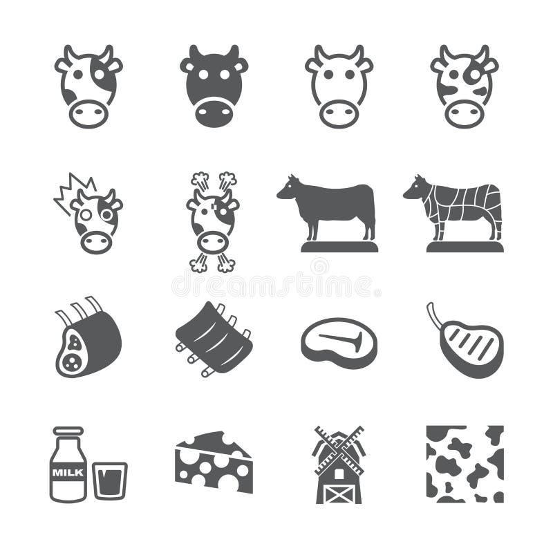 Krowy ikony set ilustracji