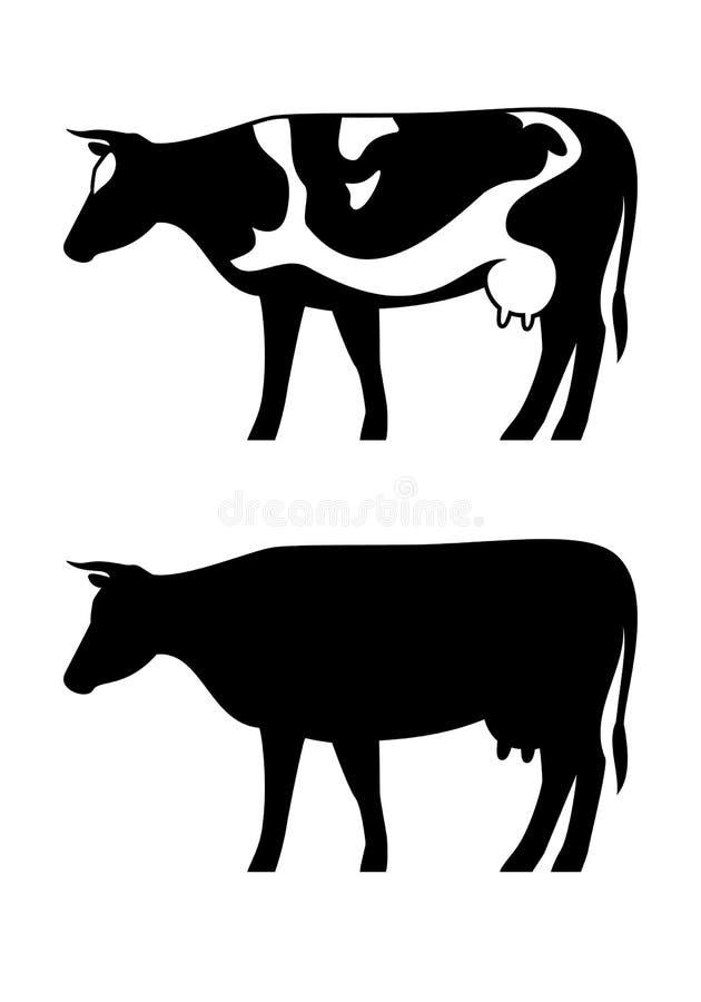 Krowy ikony wektorowa sylwetka ustawia odosobnionego na białym tle royalty ilustracja