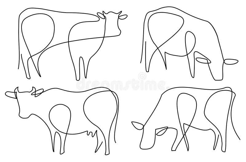 Krowy jeden kreskowy rysunek royalty ilustracja