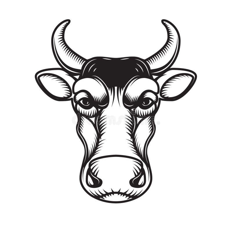 Krowy kierownicza ilustracja odizolowywająca na białym tle Projektuje element dla emblemata, znak, plakat, etykietka ilustracja wektor
