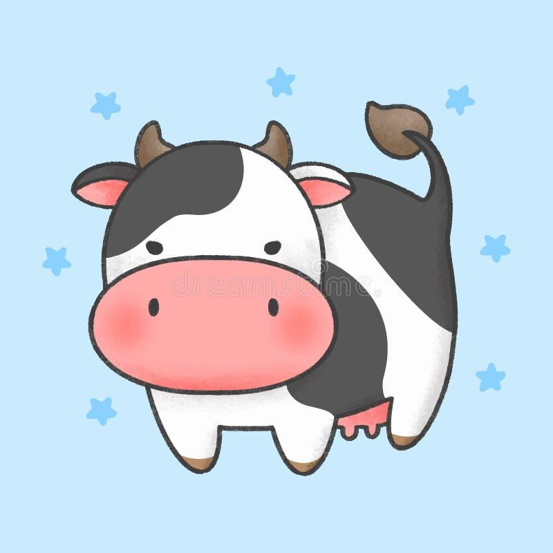 Krowy kreskówki ręka rysujący styl ilustracji