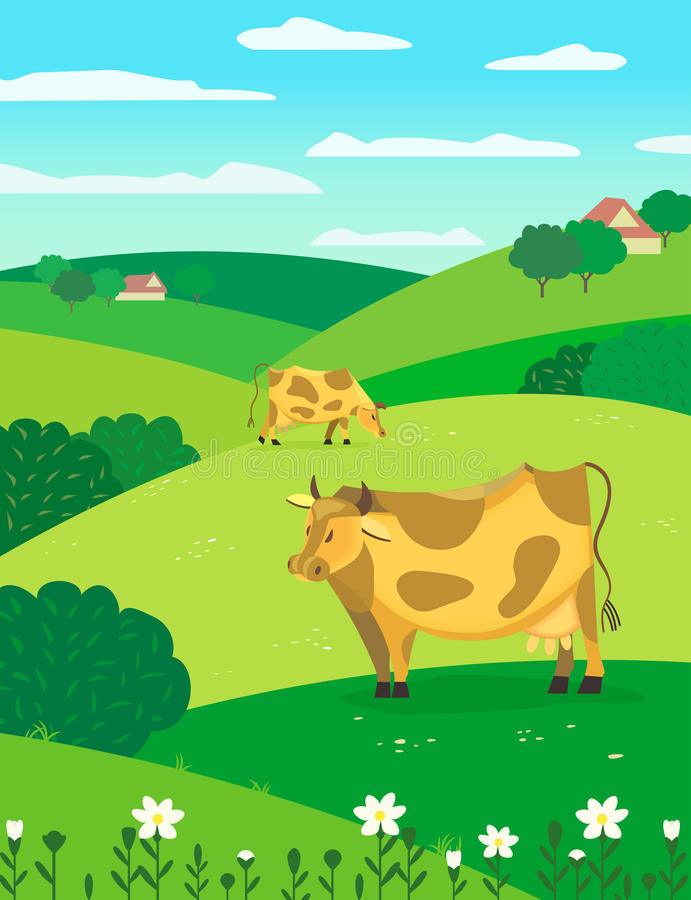 Krowy na łące royalty ilustracja