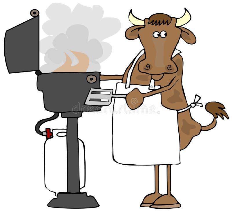 Krowy opieczenie na propanu BBQ ilustracji